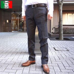 スラックス メンズ イタリア製 ノータック ウール100%...