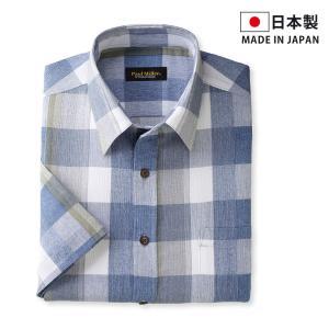 高島ちぢみを使用した日本製の半袖シャツ。  多色使いのチェック柄がカジュアルな印象を演出します。  ...
