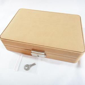 便利な鍵付きジュエリーケース 指輪が最大36本収納できる高級仕様のリング専用コレクションケース(ベージュ)|united-jewellery