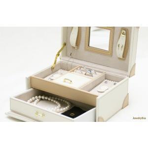 長く愛用したい方におすすめ 2段式鍵付き高級ジュエリーボックス(ホワイト)|united-jewellery|05