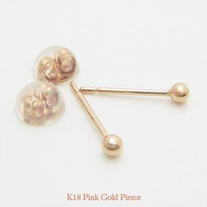 【即納】オトナのシークレットピアス 肌に馴染む目立たないK18ピンクゴールド製の2mmの丸玉ピアス(1ペア)メール便可|united-jewellery