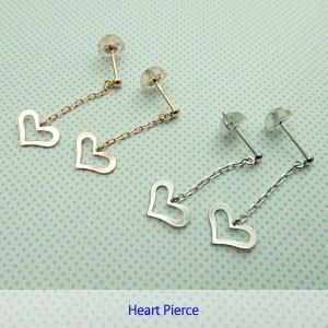 【即納】ホワイトゴールドとピンクゴールドの2種類から選べるゆらゆら揺れるハートピアス(1ペア)メール便可|united-jewellery