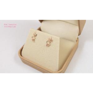 【即納】ピンクゴールド製天然ピンクトルマリンの猫ピアス メール便可|united-jewellery|02