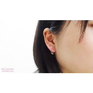 【即納】ピンクゴールド製天然ピンクトルマリンの猫ピアス メール便可|united-jewellery|04