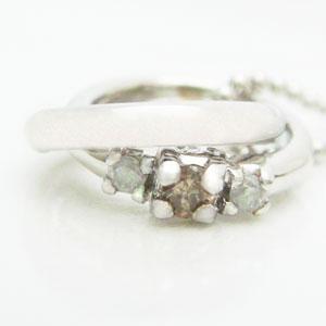 2連リング型ブラウンダイヤとダイヤモンドのペンダントネックレス メール便可|united-jewellery