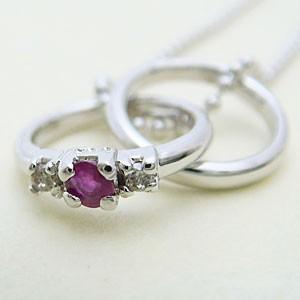 2連リング型ルビーとダイヤモンドのペンダントネックレス メール便可|united-jewellery