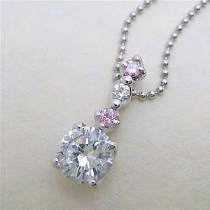 ピンクとホワイトのキュービックを使用した4点雫ペンダントネックレス メール便可|united-jewellery