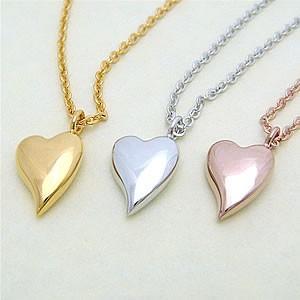 カラーが選べるとっても可愛いふっくらハート型ペンダントネックレス メール便可|united-jewellery