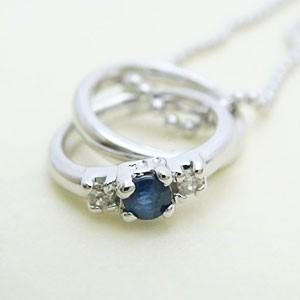 2連リング型サファイアとダイヤモンドのペンダントネックレス メール便可|united-jewellery
