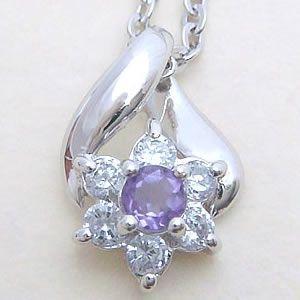 天然のアメジストを使用した上品なフラワーペンダントネックレス メール便可|united-jewellery