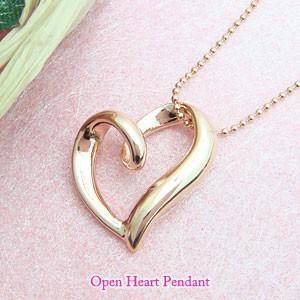 立体型ピンクゴールドオープンハート メール便可|united-jewellery