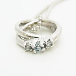 2連リング型アクアマリンとダイヤモンドのペンダントネックレス メール便可 united-jewellery