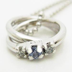 2連リング型タンザナイトとダイヤモンドのペンダントネックレス メール便可|united-jewellery