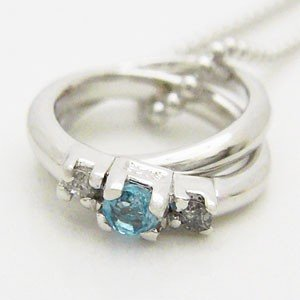 2連リング型ブルートパーズとダイヤモンドのペンダントネックレス メール便可|united-jewellery