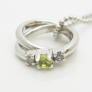 2連リング型ペリドットとダイヤモンドのペンダントネックレス メール便可|united-jewellery