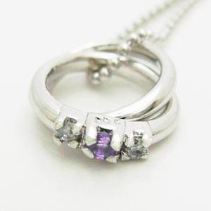 2連リング型アメジストとダイヤモンドのペンダントネックレス メール便可|united-jewellery