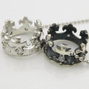 王冠をモチーフにしたシルバー製2連クラウンペンダントネックレス メール便可|united-jewellery