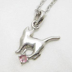 ピンクトルマリンをあしらった可愛い後姿のネコペンダントネックレス メール便可|united-jewellery