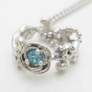 ブルートパーズとダイヤモンドのローズベビーリングペンダント メール便可|united-jewellery