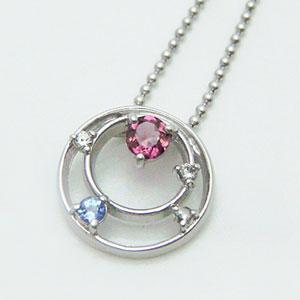ピンクトルマリンと天然ダイヤモンドをあしらったサークルペンダントパワーストーンネックレス メール便可|united-jewellery
