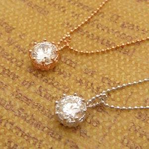 大粒ホワイトキュービックのアンティークペンダントネックレス(プラチナ、ピンクゴールド)メール便可|united-jewellery