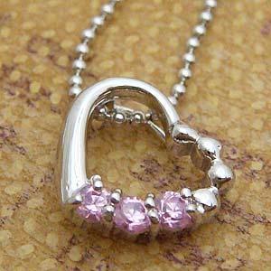 3粒のピンクキュービックをあしらったオープンハートペンダントネックレス メール便可|united-jewellery