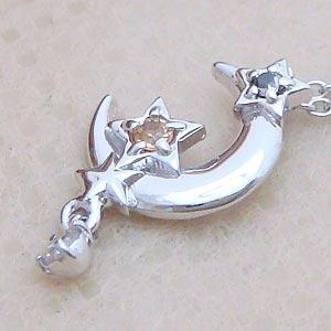 天然ダイヤモンドやイエローサファイアをあしらったキラキラ星の三日月パワーストーンペンダント メール便可|united-jewellery
