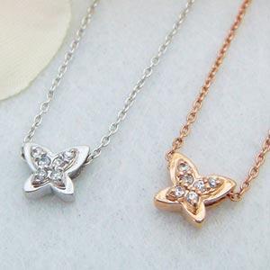 とっても可愛い蝶々モチーフのバタフライペンダント(プラチナ、ピンクゴールド)メール便可|united-jewellery