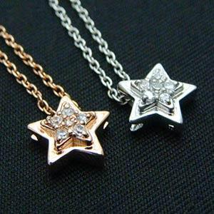 スターペンダントネックレス(プラチナ、ピンクゴールド)メール便可|united-jewellery
