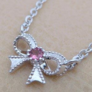 天然ピンクトルマリンをあしらった可愛いリボンペンダントネックレス メール便可|united-jewellery