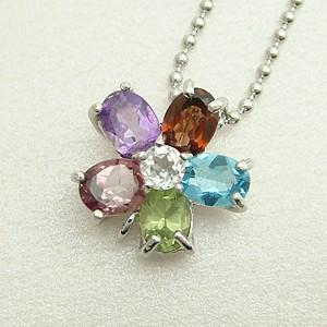 6種類の天然石を使用したフラワーモチーフのパワーストーンペンダントネックレス メール便可|united-jewellery