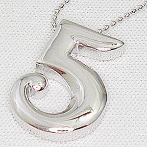 オールシルバー製のナンバーペンダントシリーズ No.5 (ナンバーファイブ)メール便可|united-jewellery