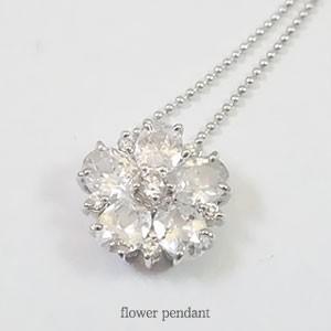 【即納】ホワイトキュービックジルコニアを贅沢に使用したフラワーモチーフペンダントネックレス メール便可|united-jewellery