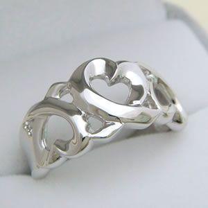 ハートがいっぱいシルバー製の太めのハートリング メール便可|united-jewellery