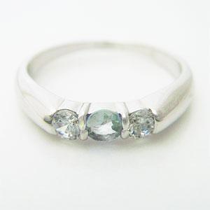 スリーストーンアクアマリンリング メール便可 united-jewellery