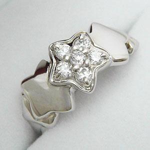 ホワイトキュービックをあしらった星型デザインのスターリング メール便可|united-jewellery