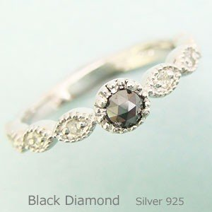 天然ブラックダイヤモンドアンティークリング メール便可 united-jewellery