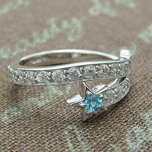 天然ブルートパーズをあしらったとっても可愛い星型デザインのスターリング メール便可|united-jewellery