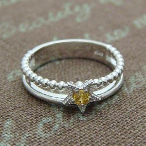 イエローサファイアの可愛い星型スターリング メール便可|united-jewellery