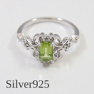 天然ペリドットをあしらったゴシック調のアンティークデザインリング(シルバー925製)メール便可|united-jewellery