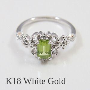 天然ペリドットをあしらったゴシック調のアンティークデザインリング(18金ホワイトゴールド製)送料無料|united-jewellery