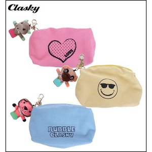 clasky クラスキー キャラクターマスコット付 小物ポーチ POUCH WITH ANIMAL CL130311|unitedcorrs