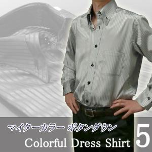ドレスシャツ 長袖 メンズ 光沢サテン 5色 ボタンダウンシャツ パーティー /9047|unitedgold