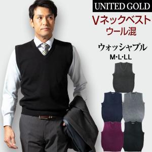 ニットベスト メンズ ビジネス ベスト 洗える ウォッシャブル 318901 送料無料〈ゆうパケット〉 unitedgold