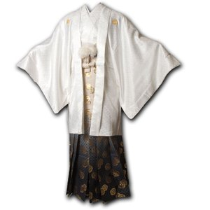 |送料無料|【成人式・卒業式】男性用レンタル紋付き袴フルセット-7142