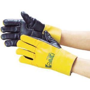 (手袋作業 軍手)カミキ 防振手袋 天然牛表革製  T-1