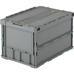 (折りたたみコンテナボックス 収納 おしゃれ)トラスコ 薄型折りたたみコンテナ 50Lロックフタ付 グレー  TR-C50B|unoonline