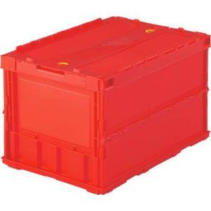 (折りたたみコンテナボックス 収納 おしゃれ)トラスコ 薄型折りたたみコンテナ 50Lロックフタ付 レッド  TR-C50B|unoonline