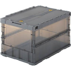 (折りたたみコンテナボックス 収納 おしゃれ)トラスコ 薄型折りたたみコンテナスケル 50Lロックフタ付 ブラック  TSK-C50B|unoonline