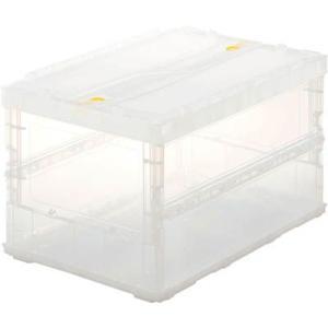 (折りたたみコンテナボックス 収納 おしゃれ)トラスコ 薄型折りたたみコンテナスケル 50Lロックフタ付 透明  TSK-C50B|unoonline